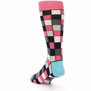 Bright Pink Grey Black Checkered Men's Dress Socks