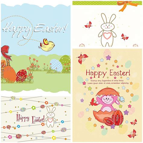 happy easter card set vector