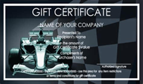Automotive Gift Certificate Template Free by Car Wash Gift Certificate Templates Easy To Use Gift