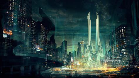 wallpaper city cityscape night reflection futuristic