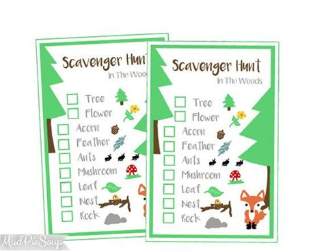 printable nature scavenger hunt game cards woods camping