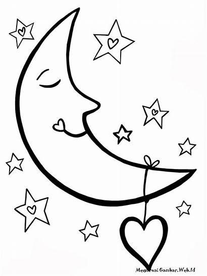 Gambar Mewarnai Bulan Untuk Anak Lucu Rumah