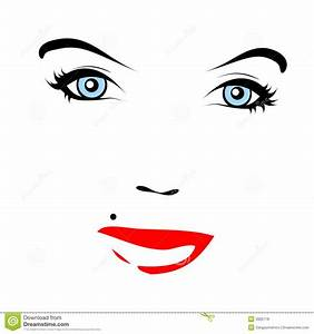 Red Lips. Vector Face Royalty Free Stock Photos - Image ...