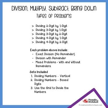 divide multiply subtract bring  standard long