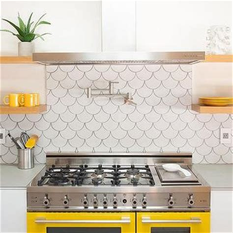 fish tiles kitchen yellow and gray backsplash tiles design ideas 3752
