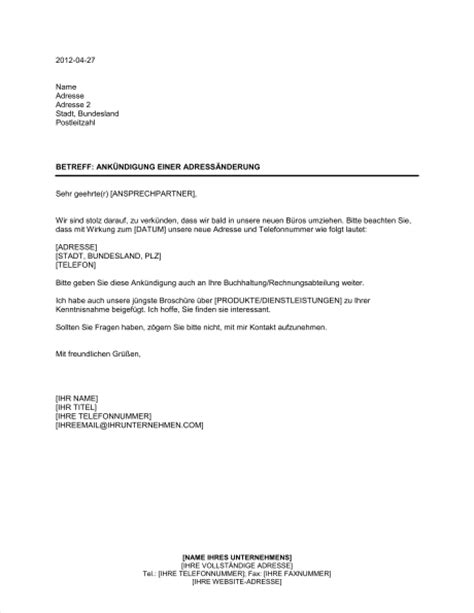 ankuendigung einer adressaenderung vorlagen und muster