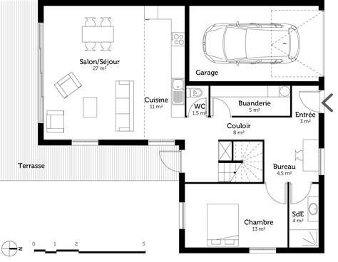 les 3 chambres plan maison à étage et à toit plat ooreka