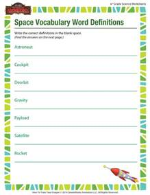 6th Grade Vocabulary Words Worksheets