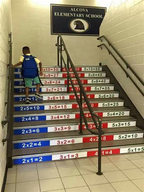 multiplication stairs education school hallways