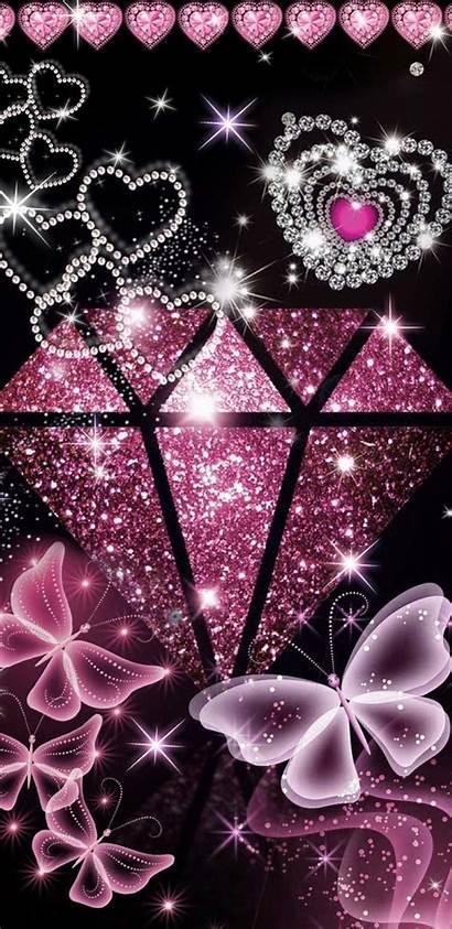 Diamond Butterfly Heart Glitter Bling Iphone Hearts