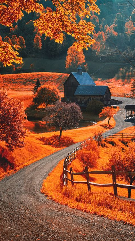 Fall Themed Wallpaper Iphone by Autumn Landscape Iphone Wallpapers Lock Screen