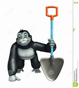 Gorilla Working Out With A Dumbbell Stock Photography