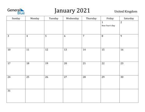 january  calendar united kingdom