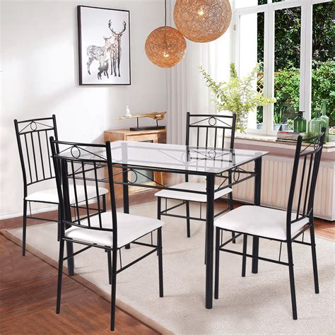 costway  piece dining set glass metal table   chairs