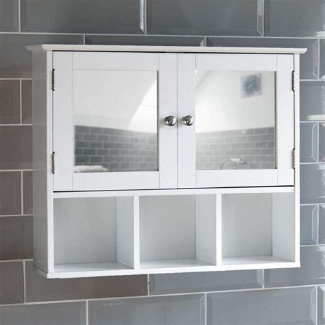 milano bathroom mirror cabinet double door shelves wall