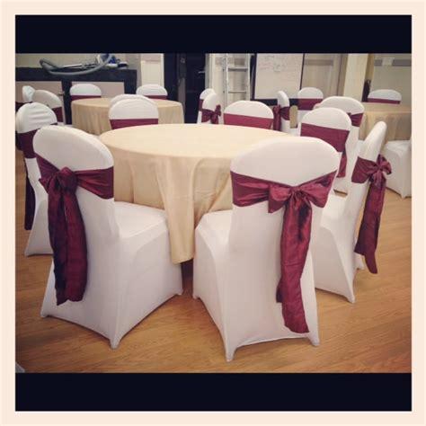 white spandex chair covers burgundy crinkled taffeta