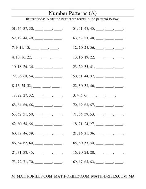 patterns in numbers worksheets 4th grade 3rd grade 4th
