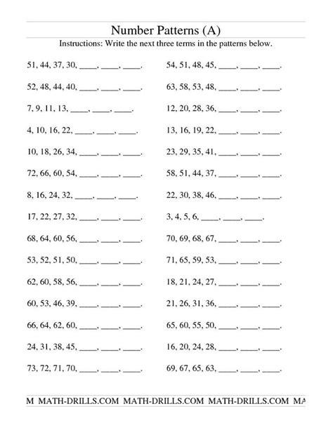 number patterns worksheet for 4th grade patterns in numbers worksheets 4th grade 3rd grade 4th