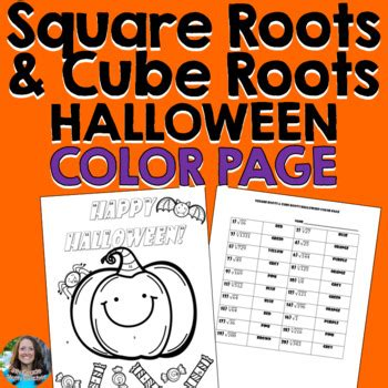 square roots cube roots halloween color page activity tpt