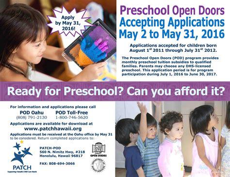 preschool open doors pod program application period for 285   POD Flyer 2016 May