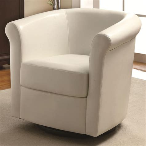 faux leather swivel barrel back accent chair at brookstone