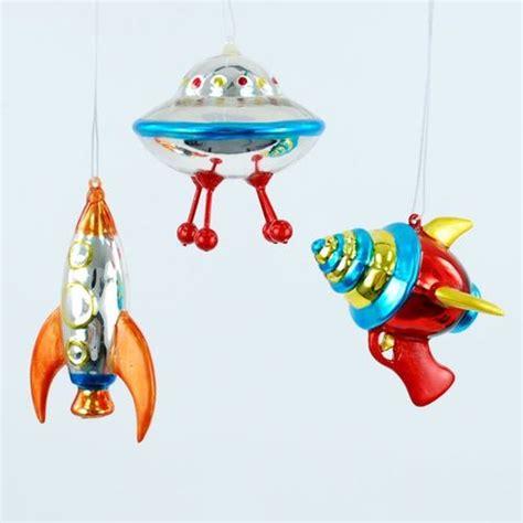 space ship ufo ray gun christmas holiday tree ornaments set of 3