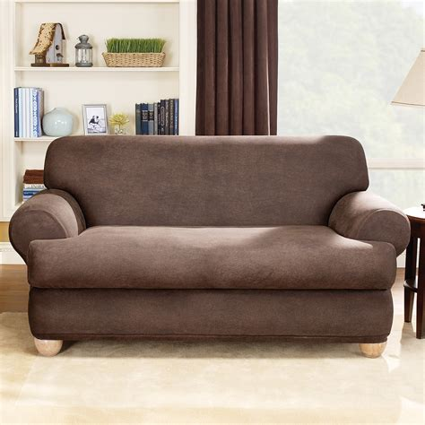 two cushion sofa slipcover sure fit stretch leather t cushion two piece sofa