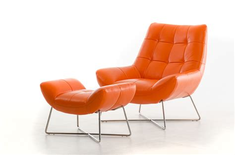 leather lounge chair with ottoman divani casa istra modern orange leather lounge chair ottoman