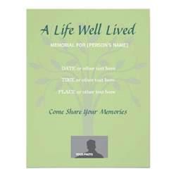 memorial celebration of green 11 cm x 14 cm invitation card zazzle