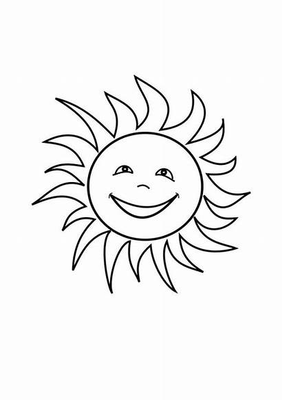 Sun Coloring Pages Printable Drawing Moon Smiling