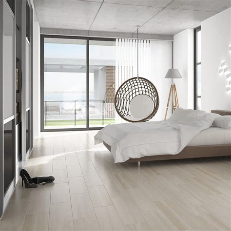 Bedroom Flooring Images by Wood Effect Floor Tiles In A Subtle Shade White