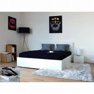 Lit Coffre 160x200 : barcelona lit coffre adulte 160x200 finition blanc achat vente structure de lit barcelona ~ Teatrodelosmanantiales.com Idées de Décoration