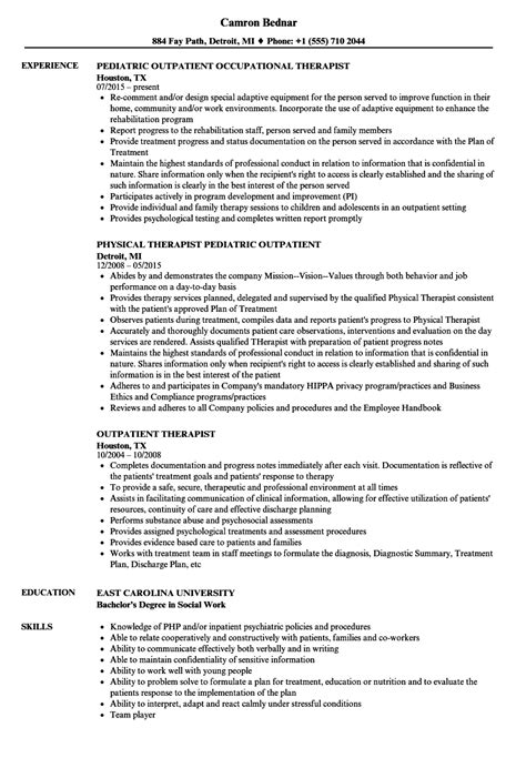 Continuing Education Units On Resume by Outpatient Therapist Resume Sles Velvet