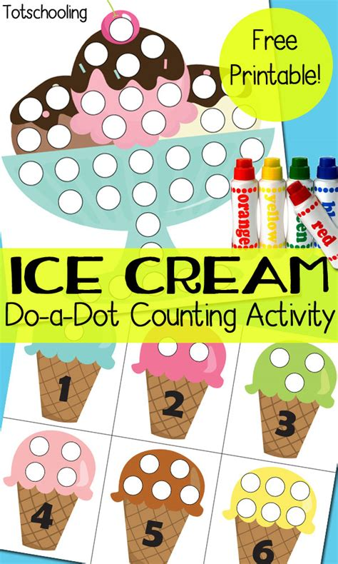 ice cream   dot counting activity totschooling