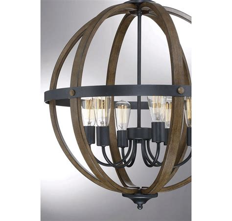Rustic Foyer Lighting by Trade Winds Lighting Rustic 6 Light Foyer Pendant In Wood
