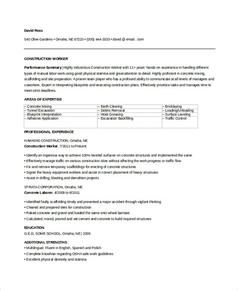 Sle Resume For A Construction Worker by Sle Construction Resume 9 Exles In Word Pdf