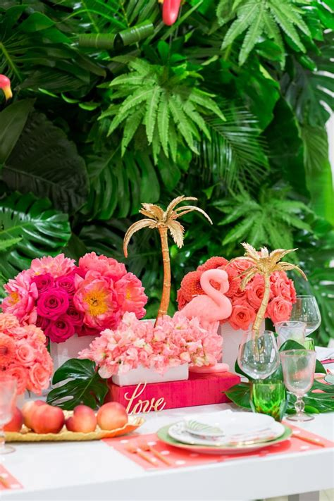 luxury flamingo themed tablescape tropical bridal