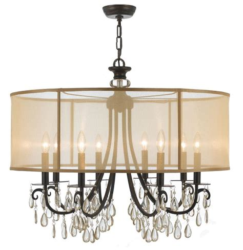 crystorama hton 8 light drum shade bronze chandelier
