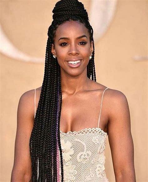 Kelly Rowland's Half Up Half Down Box Braids is a Go To