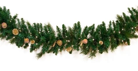 lighted christmas ornament garland decorative garland harvest gold deluxe prelit christmas