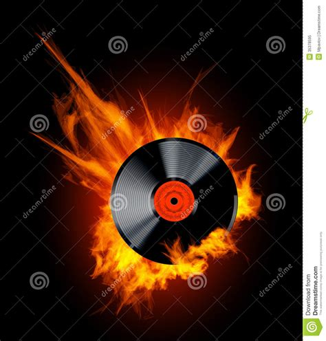 vinyl record disc  flames royalty  stock photo