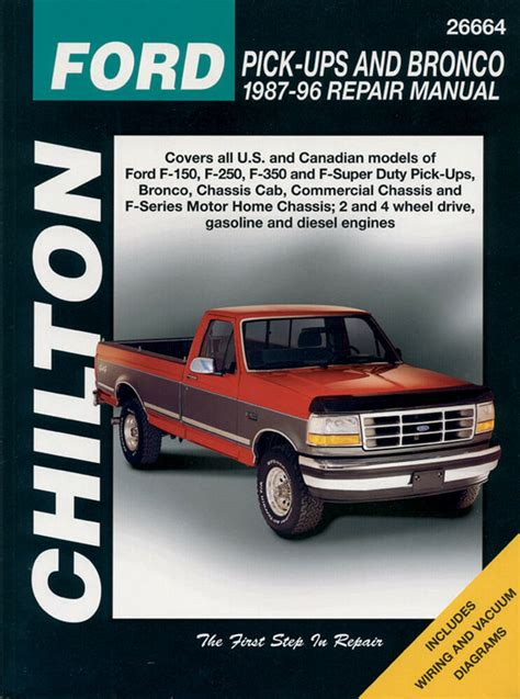 service repair manual free download 1987 ford f series electronic toll collection chilton books 26664 repair manual ford f150 f250 f350 super duty bronco 87 96 ebay