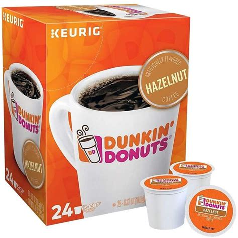 This blend boasts a smooth, nutty taste that helps make waking up that much sweeter. Dunkin' Donuts 2518071 Hazelnut Coffee K-Cup Pods Medium Roast 24/Box (400848) | eBay