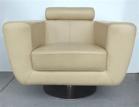 Modern Beige Leather Swivel Club Chair