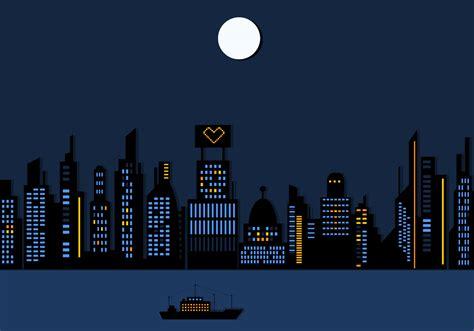 night time city skyscraper wallpaper vector
