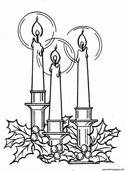 Candle Christmas Coloring Pages Three Drawing Printable