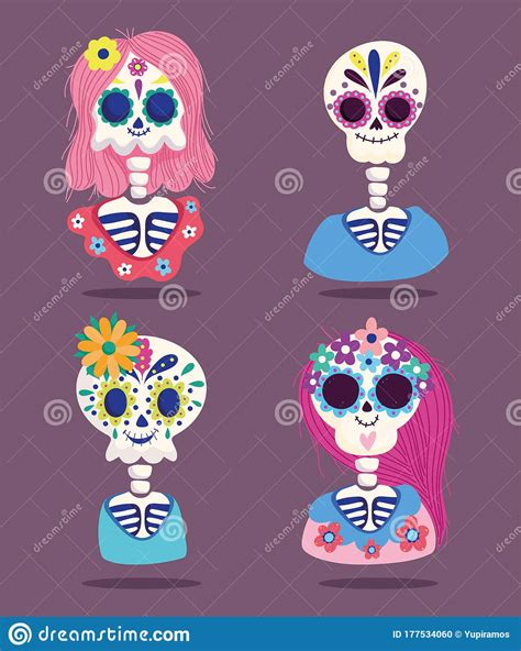 Day Of The Dead, Female And Male Skeletons Flowers ...