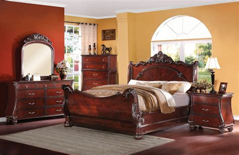 Adonias Classic Ornate 4-pc Queen Sleigh Bed Set In Cherry Gift For Mother Christmas Basket Ideas Cute Creative Gifts Boyfriend Chocolate Mom Wrapping Cool Things Good Older Brothers