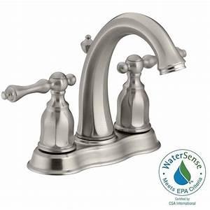 Kohler kelston 4 in 2 handle mid arc water saving for Water saving bathroom faucets