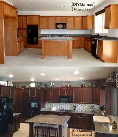 staining kitchen cabinets with gel stain diy mamas kitchen makeover gel stain backsplash 9381